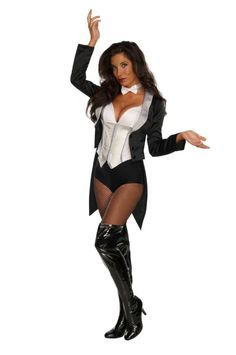 * Jacket with attached shirt front and briefs * Bow tie * Fishnet tights * Boots NOT included. * Brand new.