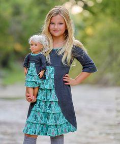 This Lilli Lovebird   Charcoal & Mint Green Empire-Waist Dress & Doll Dress - Girls by Lilli Lovebird is perfect! #zulilyfinds