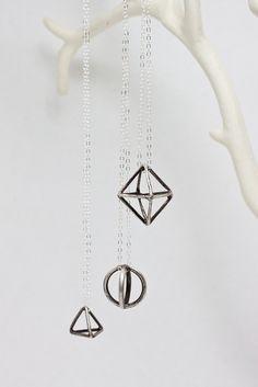 Geometric Sterling Silver Necklace. $45.00, via Etsy.