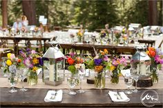 Lake Tahoe Wedding Planner. Rustic table setting with pop of color!  by http://FeliciaEvents.com