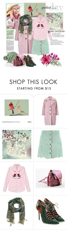 """""""Green and Blush"""" by vittorio-1 ❤ liked on Polyvore featuring BoConcept, Marella, Boohoo, Gucci, Christian Louboutin, Malone Souliers and Volcom"""
