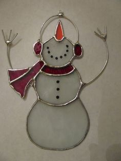 Stained Glass Dancing Snowman by PrismStainedGlass on Etsy, $25.00