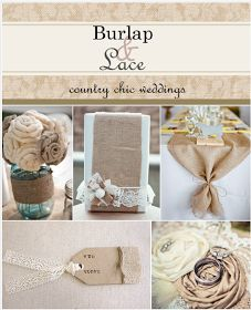 @Ashley Wright     I don't know if you've seen this, but it has a lot of lace and burlap wedding ideas.... some really pretty stuff