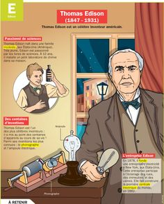 Science infographic and charts Thomas Edison - Infographic Description Fiche exposés : Thomas Edison - - Infographic Source Louis Pasteur, Reading Practice, French Phrases, French Resources, American Spirit, Reading Material, Teaching Science, Learn French, French Language