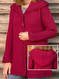 Knitting Pattern for Boston Top-Down Hooded Coat - Quick knit in bulky yarn. Sizes 2XS (XS, S, M, L, XL, 2XL, 3XL, 4XL, 5XL, 6XL, 7XL)