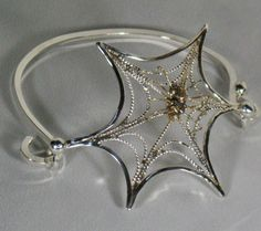Sterling Silver Spider web bracelet Halloween by RadiantOriginals, $75.00