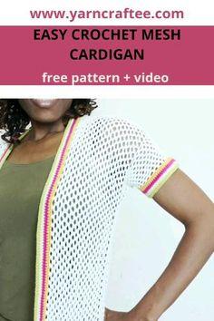 Easy Crochet, Free Crochet, Crochet Top, Color Stripes, Yarn Crafts, Free Pattern, Crochet Patterns, Mesh, Diy Projects
