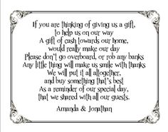 10+Personalised+Wedding+Money+Request+Small+Cards+-+Black+Frame+-+Funny+Poem