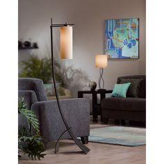 Stasis 1 Light Floor Lamp | Wayfair   brushed steel/ pearl shade 58.5h
