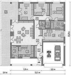 Rzut parteru projektu Murator C114 Znany House Floor Plans, Bungalow, Exterior, House Design, Flooring, How To Plan, Billionaire, Architecture, Tattoos