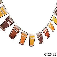 "Features pennants that look like glasses filled with ""Stout"", ""Ale"", ""IPA"" and ""Lager"" drinks. Cardboard. 7 ..."