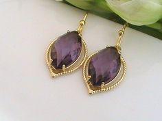 Amethyst Earrings, Purple Wedding Jewelry Gift for Bridesmaids Gift, Maid of Honor Gift for Wedding Shower Gift for Bridal Party Gift Idea