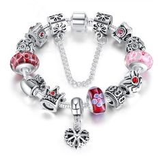 Only US$11.65 , shop Antique Silver Plated Chain Queen Crown Crystal Glass Beads Bracelet at Banggood.com. Buy fashion Charm Bracelets online.
