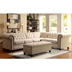 Shop for Royal Mid-Century Button Tufted Design Living Room Extended Sectional Sofa with Decorative Nailhead Trim. Get free delivery at Overstock.com - Your Online Furniture Shop! Get 5% in rewards with Club O! - 19930033