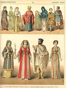 Ancient Times - Venetians in lower half. similar to Giotto ca 1305 , Lorenzetti ca 1306, and Veneziano ca 1330s. Eastern themes from Byzantine fashion with vertical stripes and horizontal dazzle. Overdresses with decorative borders and underdresses with tight sleeves.