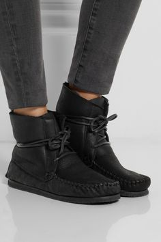 Isabel Marant|Étoile Eve shearling-lined leather moccasin boots|NET-A-PORTER.COM