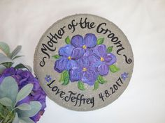 Mother Of The Groom Gift, PICK YOUR FLOWERS, Garden Stone, Hand Painted  Violets