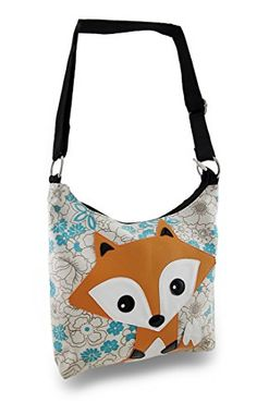 Sleepyville Critters Fox Floral Print Cotton Canvas Shoulder Bag Zeckos || ($36.99) -- Pinned again as a source for a replacement purse!