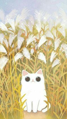 40 New Ideas Wallpaper Cute Cat Art Animes Wallpapers, Cute Wallpapers, Wallpaper Backgrounds, Anime Kunst, Anime Art, Cute Cat Wallpaper, Trendy Wallpaper, Cat Drawing, Cute Illustration