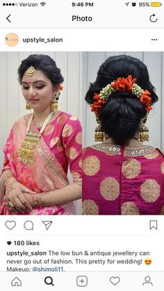 What a beautiful large low bun with gajra! Care however should be taken before adopting such hairstyles, as due to it's high static charge, it will cause phlegm to move up in the throat, causing the voice to quaver & a frequent urge to clear the throat. A heavy chabi chhalla with a long & wide hook if inserted at the edge of the pleats of the saree, will reduce this problem as it's hook will activate the acupressure points that act to keep the throat clear. South Indian Bride Hairstyle, Indian Hairstyles, Bride Hairstyles, Bridal Hairdo, Bridal Hair Pins, Bridesmaid Poses, Indian Bridal Makeup, Muslim Brides, Hair Decorations