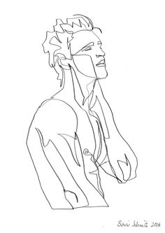 """body 1″, continuous line drawing by Boris Schmitz"