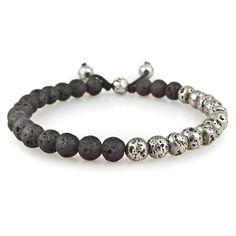 Small Mix Lava Silver Lava Stone Bead Bracelet | M. Cohen Designs
