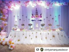 Fancy unicorn party with stars and pretty lighting Unicorn Themed Birthday Party, 10th Birthday Parties, Birthday Party Decorations, Girl Birthday, Unicorn Baby Shower, Deco Table, Decoration Table, Creations, Unicorns