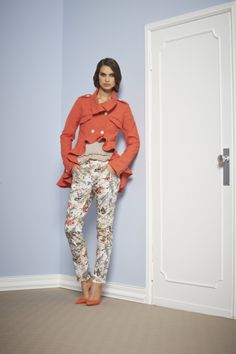 It's a rainy day, so why we can't do something to bring the sun!? Floreal Mood for the pants and Shiny Orange for the Jacket. Sonia Fortuna Spring Summer 2014 Collection
