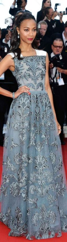 RED CARPET CANNES 2013 - Zoe Saldana in Valentino at the premiere of 'Blood Ties' at the Cannes Film Festival.