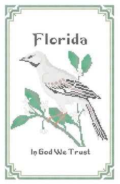 New to robinsdesign on Etsy: Florida State Bird Flower and Motto Cross Stitch Pattern PDF (5.00 USD)
