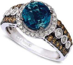 LeVian Le Vian Blue Topaz (2 ct. t.w.) and White and Chocolate Diamond (3/4 ct. t.w.) Statement Ring in 14k White Gold
