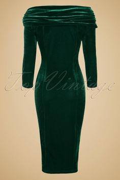 Collectif Clothing Hollie Velvet Green Wiggle Dress 16102 20150624 0009W