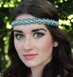 Boho beaded headband, hippie headband, tribal headband in shades of green and gold beads and stones. by TeddyBandz94 on Etsy https://www.etsy.com/listing/227234944/boho-beaded-headband-hippie-headband