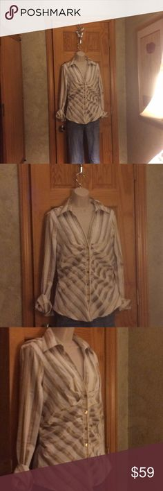 Vintage Michael Kors White and Gold Blouse Gorgeous, like NWOT, polyester/silk mix, dry clean only, button down with ruching on sides to accentuate your figure Michael Kors Tops Button Down Shirts