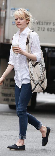 Emma Stone: Shirt – MiH Jeans  Purse – Twelfth St. by Cynthia Vincent  Sunglasses – Rag & Bone  Shoes – TOMS