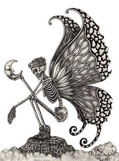 Picture of Skull art fairy surreal. Hand pencil Drawing on paper. stock photo, images and stock photography. Skeleton Love, Women Skeleton, Skeleton Art, Fairy Drawings, Art Drawings Sketches, Tattoo Drawings, Skull Drawings, Hand Pencil Drawing, Pencil Drawings