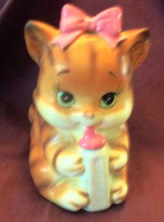 Lovely Fun Lefton's Japan Kitty Cat Pink Baby Bottle Planter