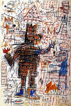 1982  J.M. Basquiat  Portrait of the Artist as a Young Derelict  Acrylique huile encre et Crayon gras sur bois  204x208,5 cm  Collection Particulière #Graffiti #NewYork #Design