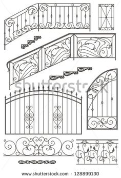 Vector set: wrought iron wicket, stairs railing, fence and window grilles isolated on white background by Egorova Julia, via Shutterstock Mais Wrought Iron Stair Railing, Wrought Iron Fences, Railings, Stair Handrail, Railing Design, Staircase Design, Iron Gate Design, Iron Furniture, Grill Design