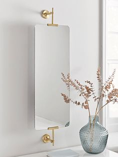 NEW Brass Framed Portrait Mirror - Bathroom Mirrors - Mirrors Wall Mirrors Uk, Large Bathroom Mirrors, Salon Mirrors, Mirror Tiles, Full Length Mirror Bathroom, French Bathroom, Vanity Mirrors, Brass Mirror, Boutique Interior