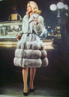 retro gray mink & fox fur coat