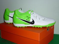Nike T90 Shoot IV TF white, fluo green and black. Marked with my girlfriend's name and mine. Sept. 2012 / Present