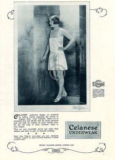 1926 British Celanese Underwear Lingerie Ad Girl Dainty
