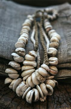 Vintage one off shell necklaces available at Manyara Home