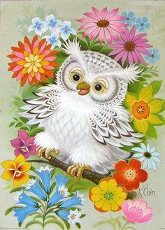Owl lithograph by K. Chin Buhos y lechuzas dibujos Owl Photos, Owl Pictures, Owl Bird, Bird Art, Kit Pintura, Vintage Illustration, Illustration Animals, Decoupage, Art Vintage