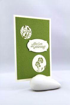 Geburtstag - Geburtstagskarte Vanille Grün - ein Designerstück von StempelLeo bei DaWanda