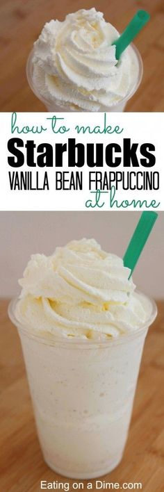 How to make starbucks vanilla bean frappuccino at home that tastes amazing. This… How to make starbucks vanilla bean frappuccino at home that tastes amazing. This easy copy cat recipe is easy to make at home. Frappuccino Recipe At Home, Vanilla Bean Frappuccino Recipe, Smoothie Drinks, Smoothie Recipes, Easy Desserts, Dessert Recipes, Drink Recipes, Dessert Blog, Dessert Aux Fruits