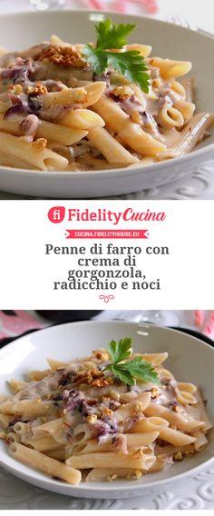 Penne di farro con crema di gorgonzola, radicchio e noci Penne, Italian Recipes, Macaroni And Cheese, Buffet, Good Food, Food And Drink, Cooking Recipes, Tasty, Lunch
