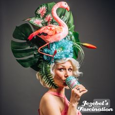 Funky Hats, Crazy Hats, Blue And Green, Mint Blue, Orianna League Of Legends, Amazing Halloween Costumes, Weird Costumes, Halloween Hats, Floral Fascinators