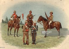 Types of Australian regiments, left to right, South Australian Lancers and mounted rifles, South Australian infantry, Queensland permanent artillery and Queensland mounted rifles. Anzac Soldiers, Ww1 Soldiers, Military Art, Military History, Military Uniforms, Red Army, Australian Art, British Army, Armed Forces